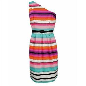 London Times One Shoulder Patterned Sheath Dress